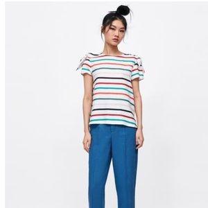 Zara Striped Linen Top